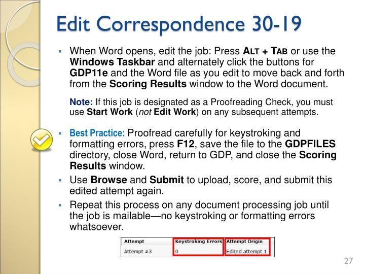 Edit Correspondence 30-19