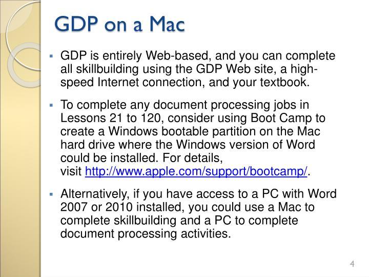GDP on a Mac