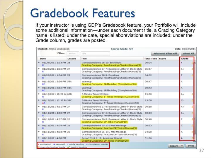 Gradebook Features