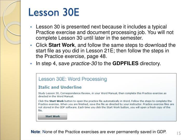 Lesson 30E