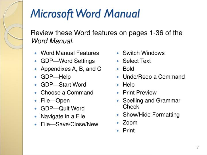 Microsoft Word Manual