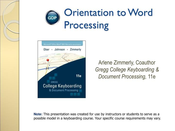 Orientation to word processing