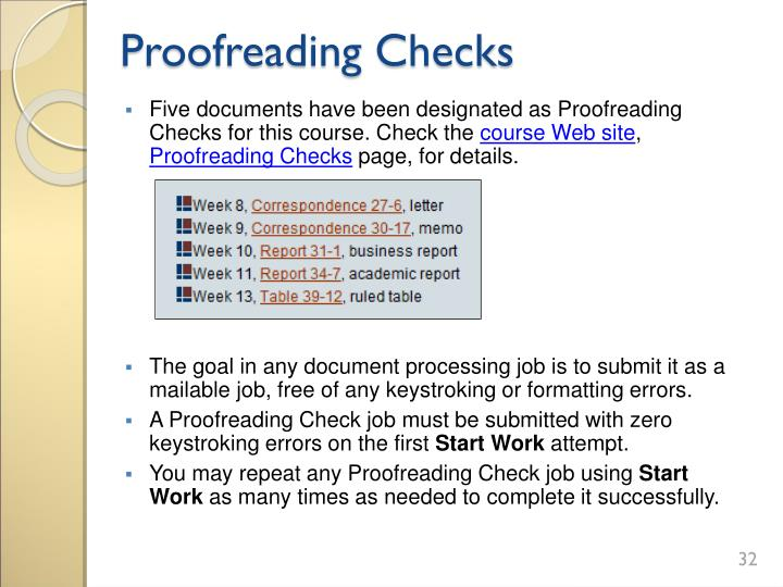 Proofreading Checks