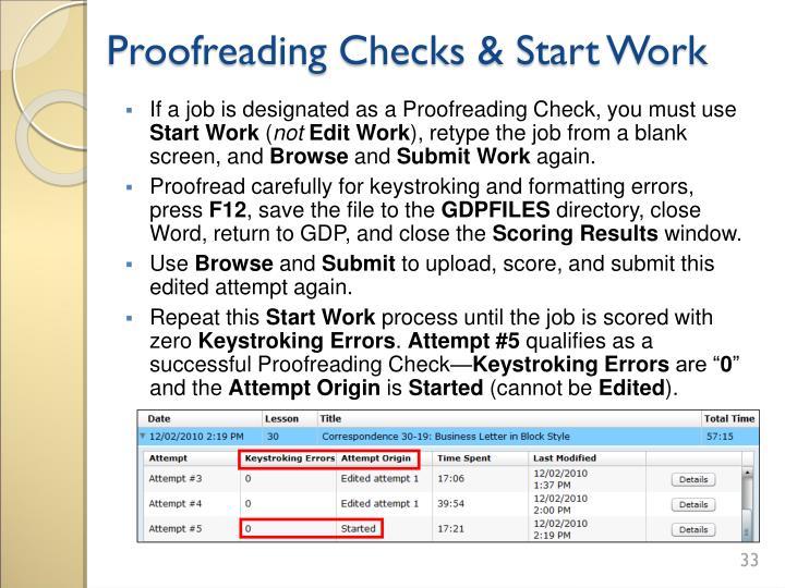 Proofreading Checks & Start Work