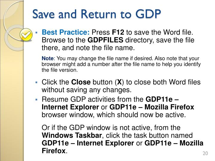 Save and Return to GDP