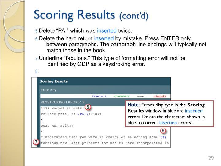 Scoring Results