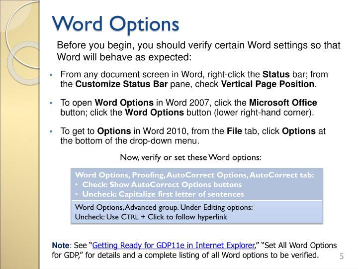 Word Options