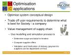 optimisation applications
