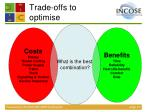 trade offs to optimise