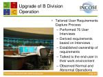 upgrade of b division operation