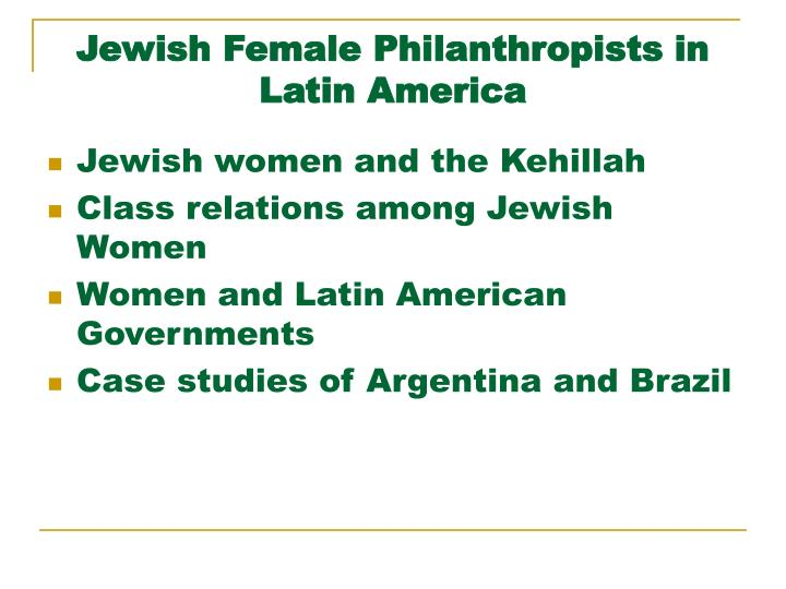 jewish female philanthropists in latin america n.
