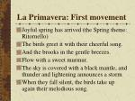 la primavera first movement