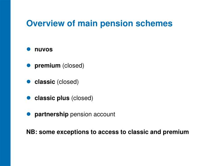 Overview of main pension schemes