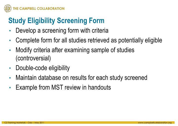 Study Eligibility Screening Form
