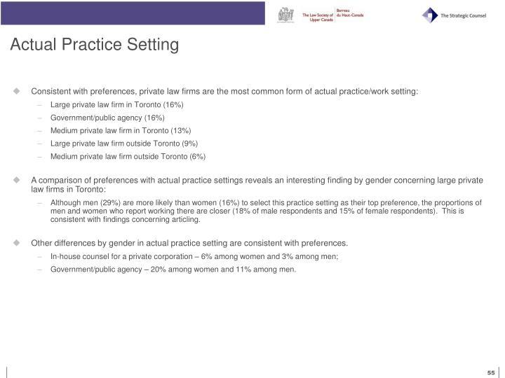 Actual Practice Setting