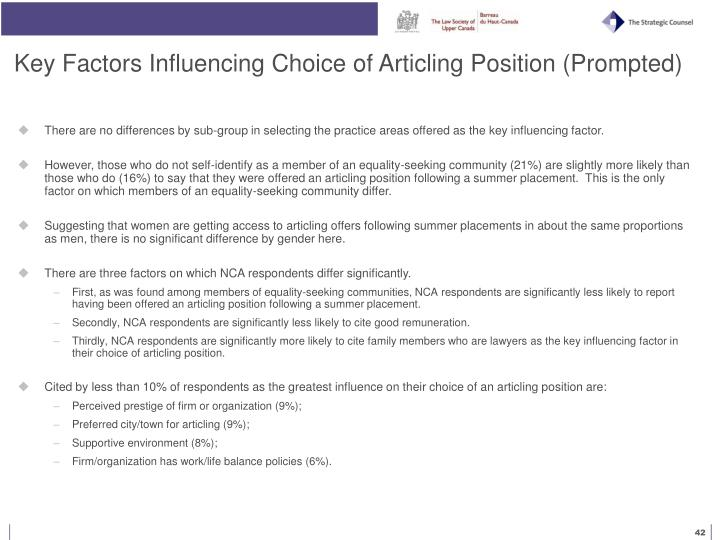Key Factors Influencing Choice of Articling Position (Prompted)
