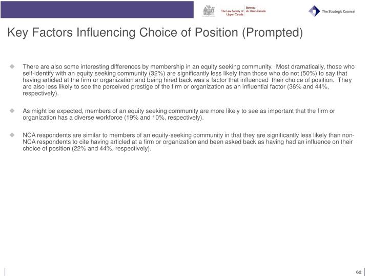 Key Factors Influencing Choice of Position (Prompted)