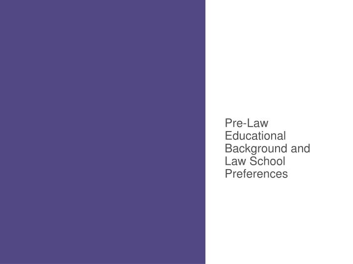 Pre-Law Educational Background and Law School Preferences