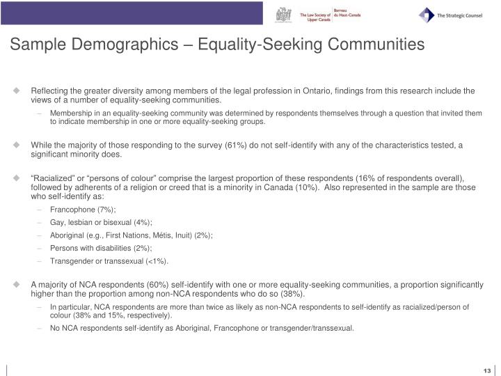 Sample Demographics – Equality-Seeking Communities