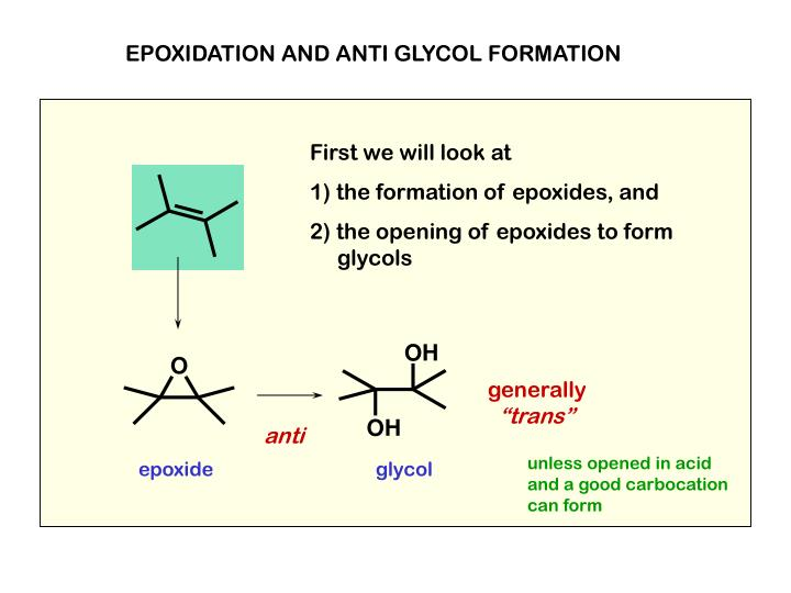 EPOXIDATION AND ANTI GLYCOL FORMATION