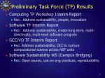 preliminary task force tf results