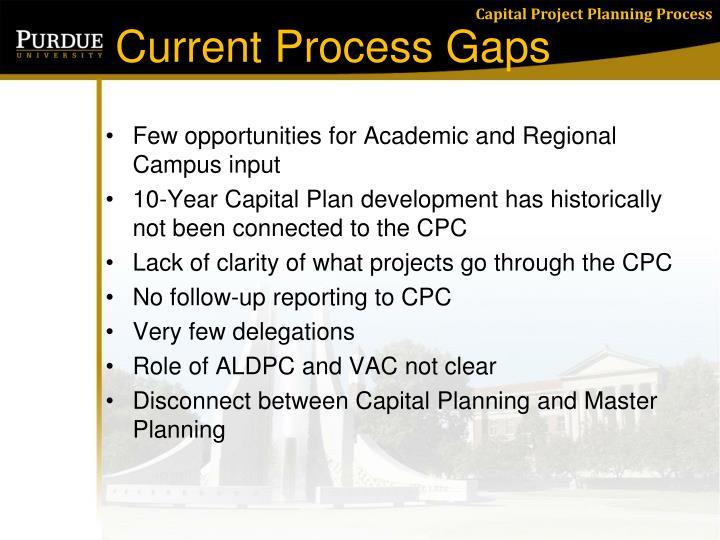Current process gaps