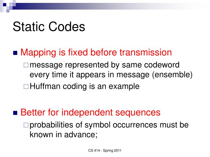 Static Codes