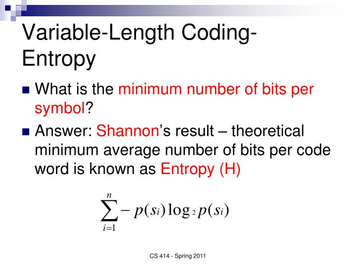 Variable-Length Coding- Entropy