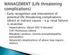 management life threatening complications