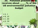 35 pollution prevention receives about of the us environmental pollution budget