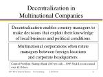 decentralization in multinational companies