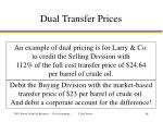 dual transfer prices