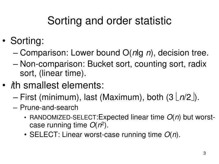 Sorting and order statistic