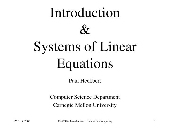 introduction systems of linear equations n.