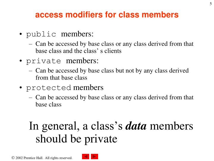 access modifiers for class members