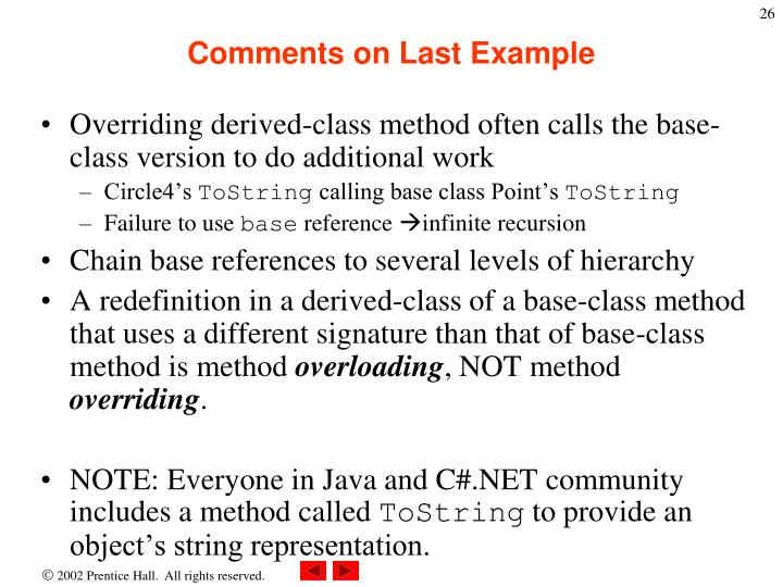 Comments on Last Example