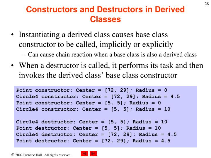 Constructors and Destructors in Derived Classes