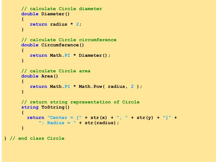 // calculate Circle diameter
