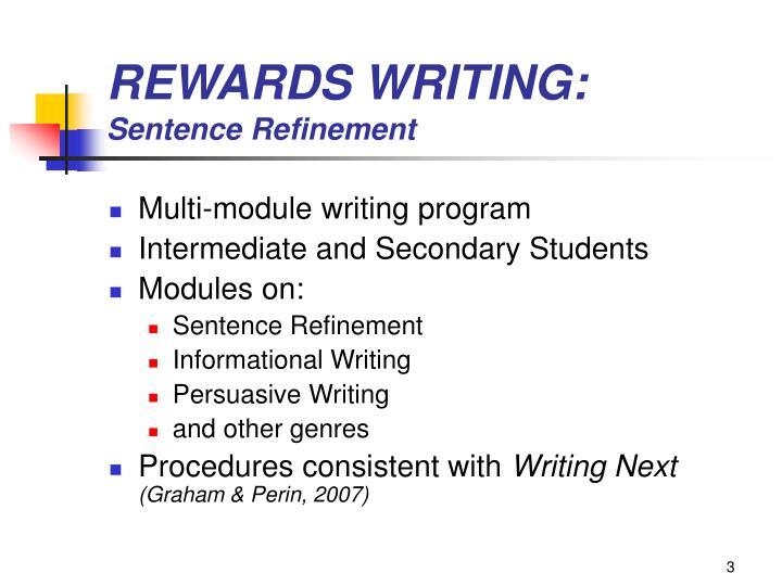 Rewards writing sentence refinement