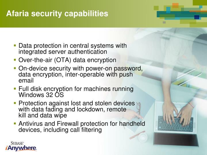 Afaria security capabilities