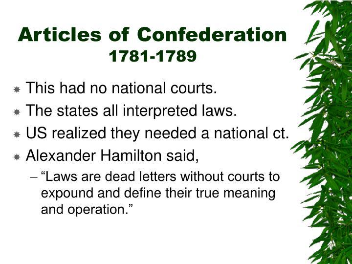 Articles of confederation 1781 1789
