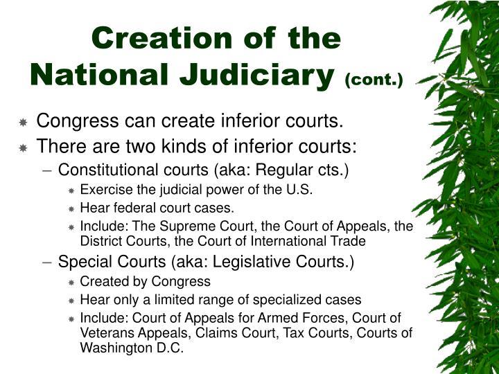 Creation of the National Judiciary