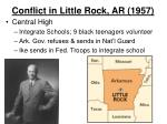 conflict in little rock ar 19572