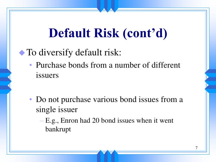 Default Risk (cont'd)
