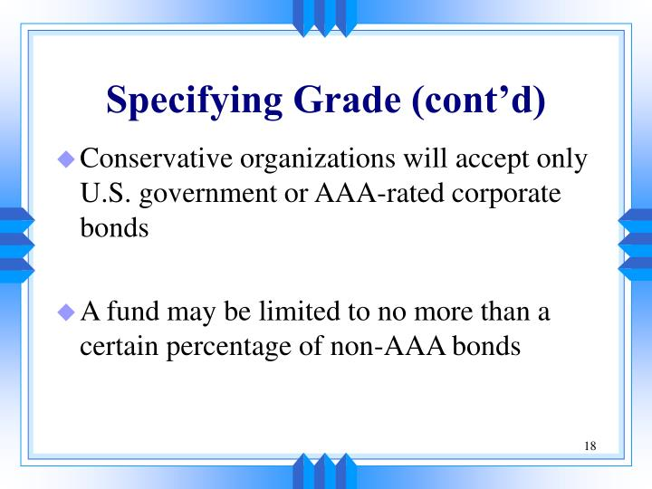 Specifying Grade (cont'd)