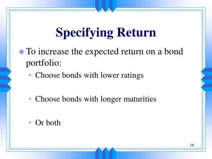 Specifying Return