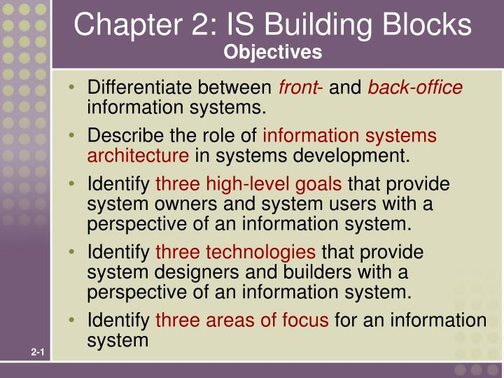 chapter 2 is building blocks objectives n.