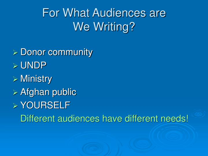 For What Audiences are