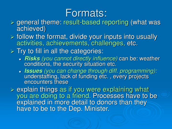Formats: