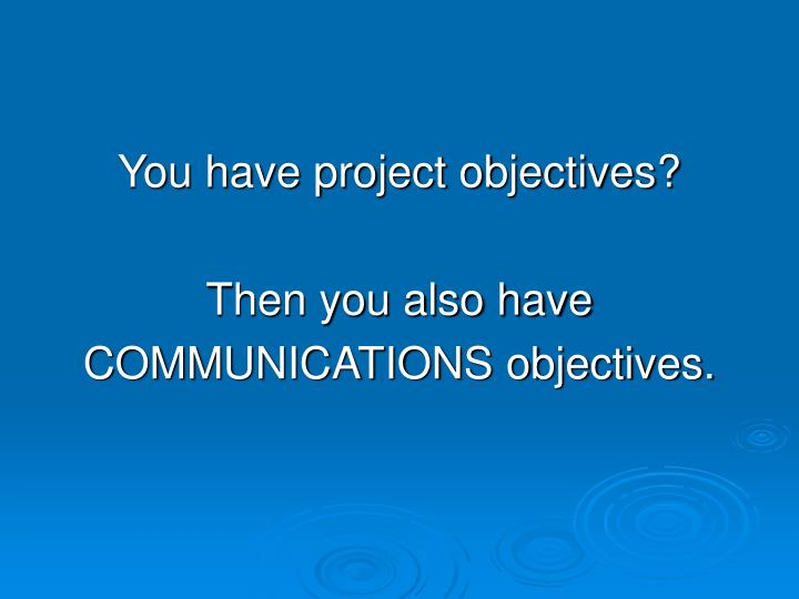 You have project objectives?